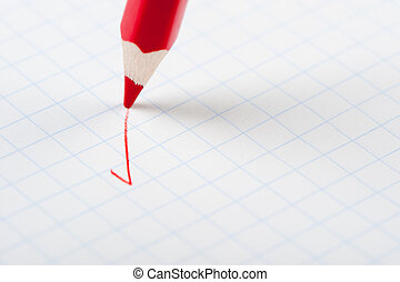 ceruza, írás, piros, Megjelöl