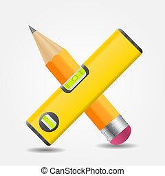 ceruza, egyszintű, ábra, vektor, sárga, ikon