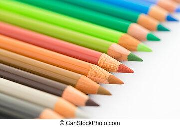 ceruza, fehér, színpompás, elszigetelt