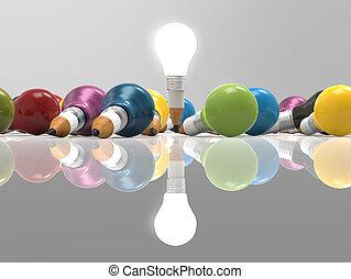 ceruza, fogalom, fény, gondolat, kreatív, gumó, rajz