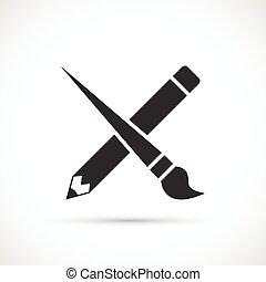 ceruza, ikon, keresztbe tett, ecset, festék