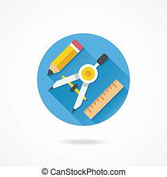 ceruza, iránytű, vektor, rajz, vonalzó