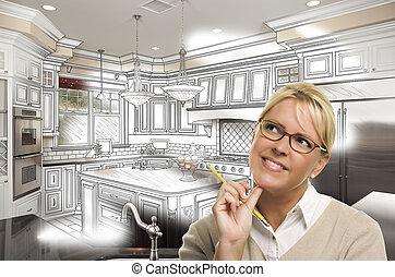 ceruza, nő, fénykép, felett, szokás tervezés, rajz, konyha