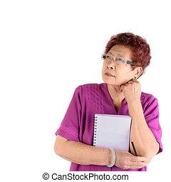 ceruza, nő, jegyzetfüzet, ázsiai, birtok, portré, súlyos, idősebb ember