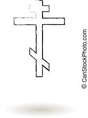 ceruza, skicc, kereszt, ortodox