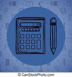 ceruza, számológép, rajz, matek
