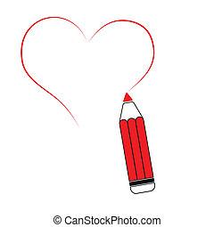 ceruza, szív, -, ábra, vektor, rajz, piros