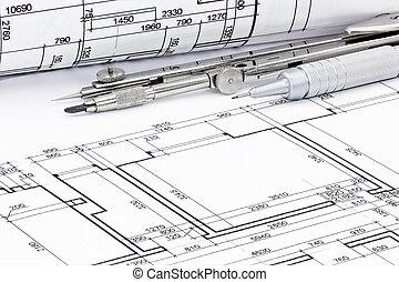 ceruza, tervrajz, alaprajzok, tekercselt, closeup, építészeti, iránytű, rajz