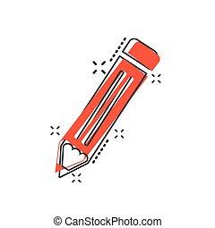 ceruza, vektor, ügy, concept., hatás, ábra, aláír, akol, loccsanás, pictogram., komikus, style., karikatúra, ikon