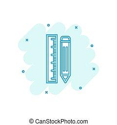 ceruza, vektor, bekapcsol, hivatal, vonalzó, concept., hatás, méter, aláír, ügy, loccsanás, ábra, pictogram., komikus, style., karikatúra, ikon