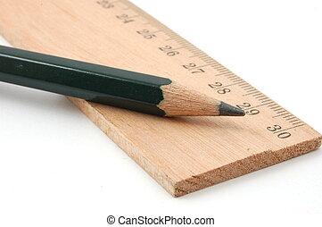 ceruza, vonalzó