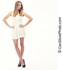 cervato, mini, mulher, jovem, fundo, vestido branco