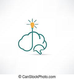 cerveau, électrique, icône