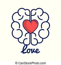cerveau, aimez coeur
