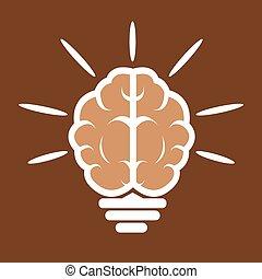 cerveau, ampoule, icône