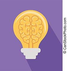 cerveau, ampoule, illustration