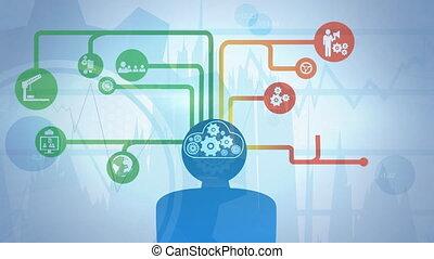 cerveau, animé, composite, numérique, humain, dents