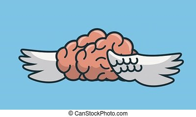 cerveau, animation, hd, ailes, humain