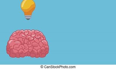 cerveau, animation, hd, idée, humain