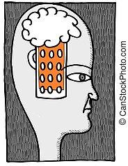 cerveau, bière, humain