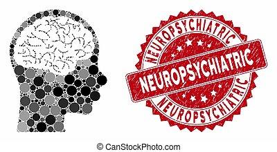 cerveau, cachet, collage, grunge, neuropsychiatric