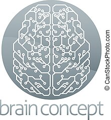 cerveau, cercle, circuit ordinateur