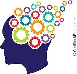 cerveau, concept, engrenages, logo