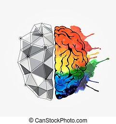cerveau, concept, humain