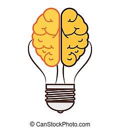 cerveau, concept, storming, icône