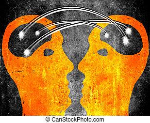 cerveau, concept, storming, illustration