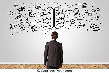 cerveau, concept, surchargé, directeur, mur, regarder