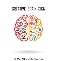 cerveau, créatif, signe