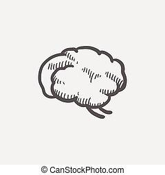cerveau, croquis, humain, icône