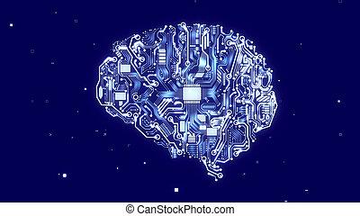 cerveau, cyborg, unité centrale traitement,...