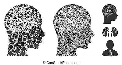 cerveau, déguenillé, icône, carcinome, morceaux, mosaïque