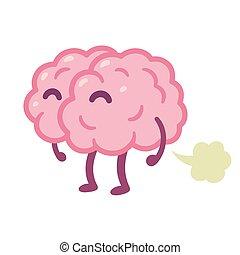 cerveau, dessin animé, fart