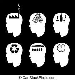 cerveau, différent, types, peuples