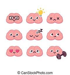 cerveau, emoticons, ensemble, dessin animé