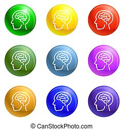 cerveau, ensemble, penser, humain, icônes