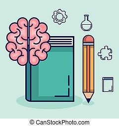 cerveau, ensemble, storming, icônes