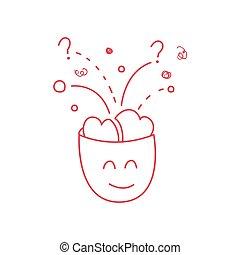 cerveau, entiers, caractère, idées