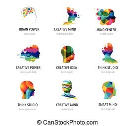 cerveau, esprit créatif, apprentissage, et, conception, icons., homme, tête, gens, symboles