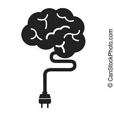 cerveau, esprit, storming, icône