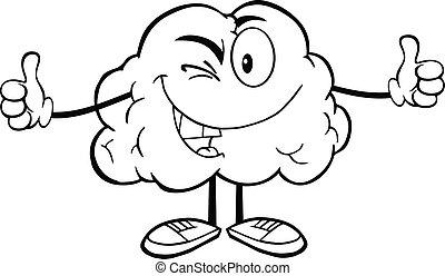 cerveau, esquissé, cligner, caractère