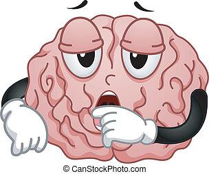 cerveau, fatigué, mascotte