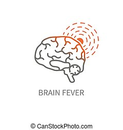 cerveau, fièvre, icône