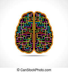 cerveau, flèches, coloré, former