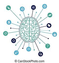 cerveau, fond, icônes