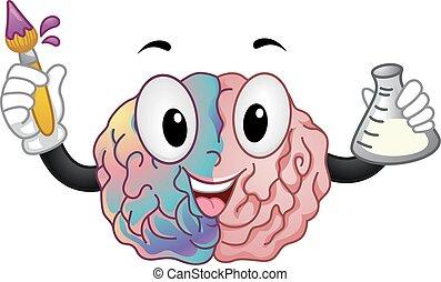cerveau, gauche, droit, mascotte, artiste, chimiste