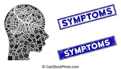 cerveau, grunge, carcinome, symptômes, mosaïque, rectangle,...